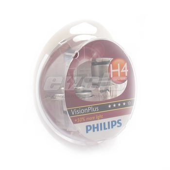 "Лампы ""PHILIPS"" 12v H4 60/55W (P43t) Vision Plus (+60% света) (комп. 2шт.)"